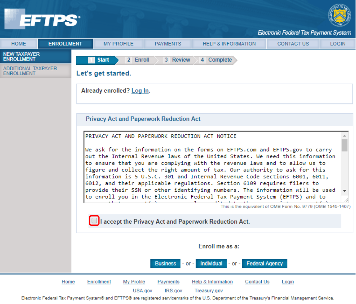 EFTPS  Accept Privacy Act